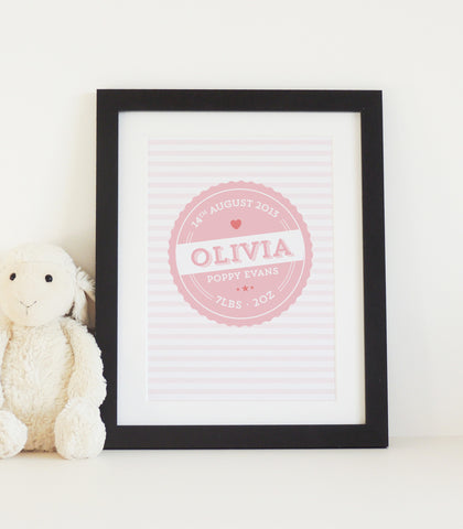 Personalised New Baby Vintage Label Print - Project Pretty  - 2