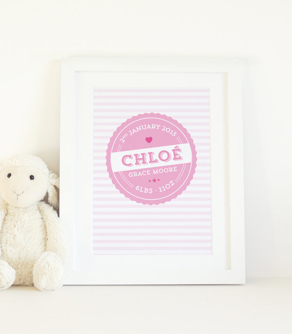 Personalised New Baby Vintage Label Print - Project Pretty  - 1