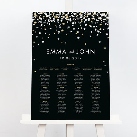 Bella black and gold wedding table plan
