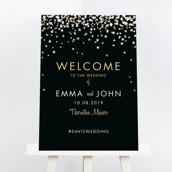Constellation Bella black and gold wedding welcome sign