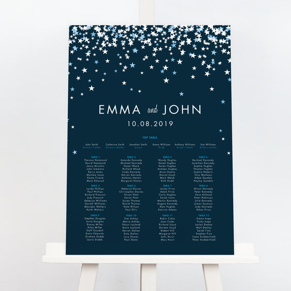 Bella navy star wedding table plan