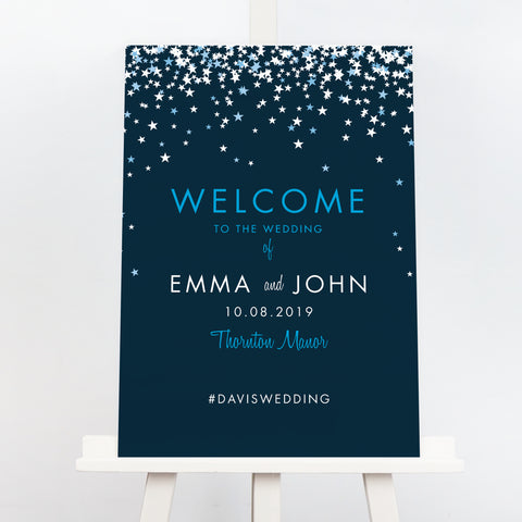 Bella starry wedding welcome sign