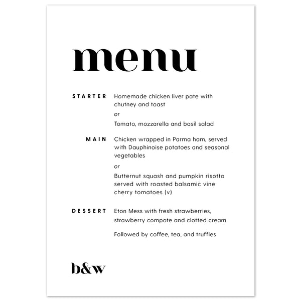 Billie Menu Cards