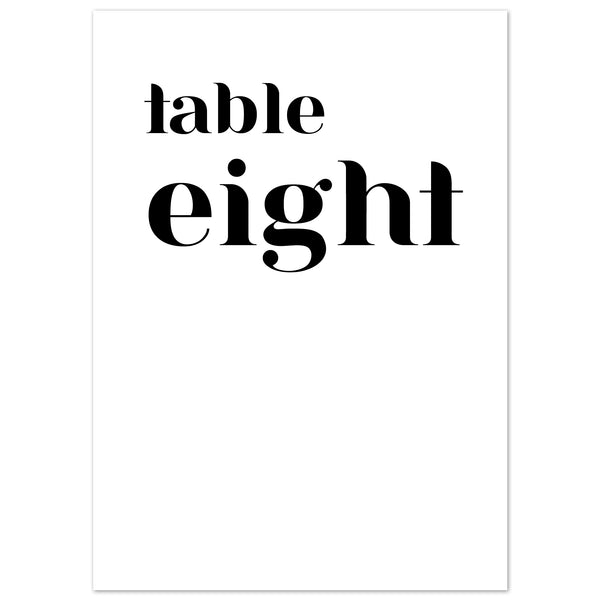 Billie table numbers