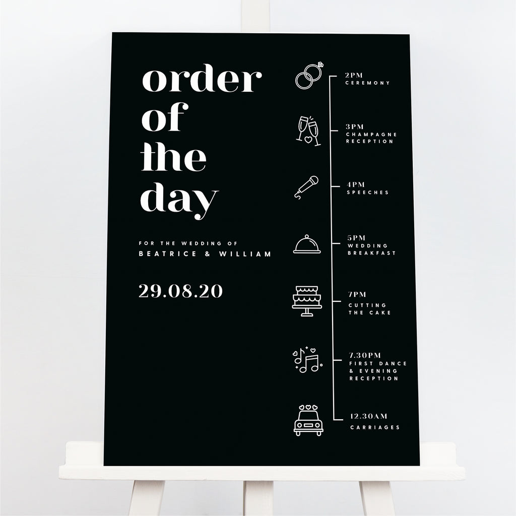 Billie order of the day sign