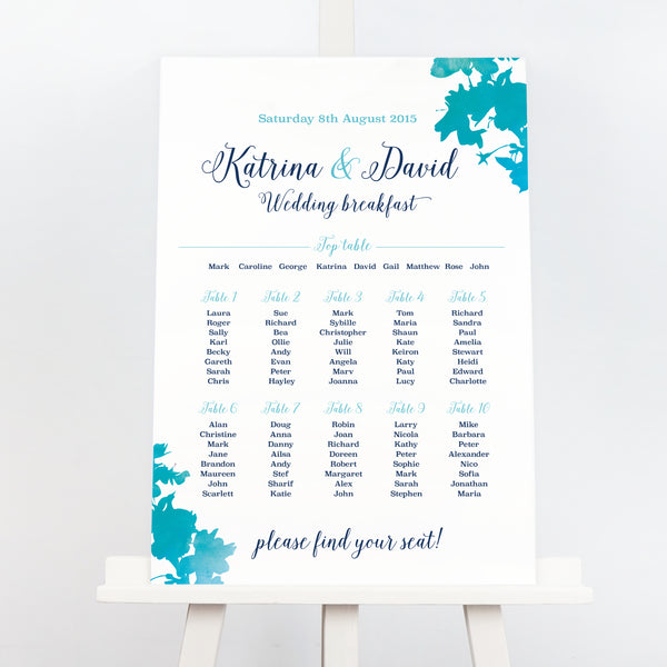 Blossom blue wedding table plan