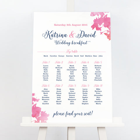 Blossom pink wedding table plan