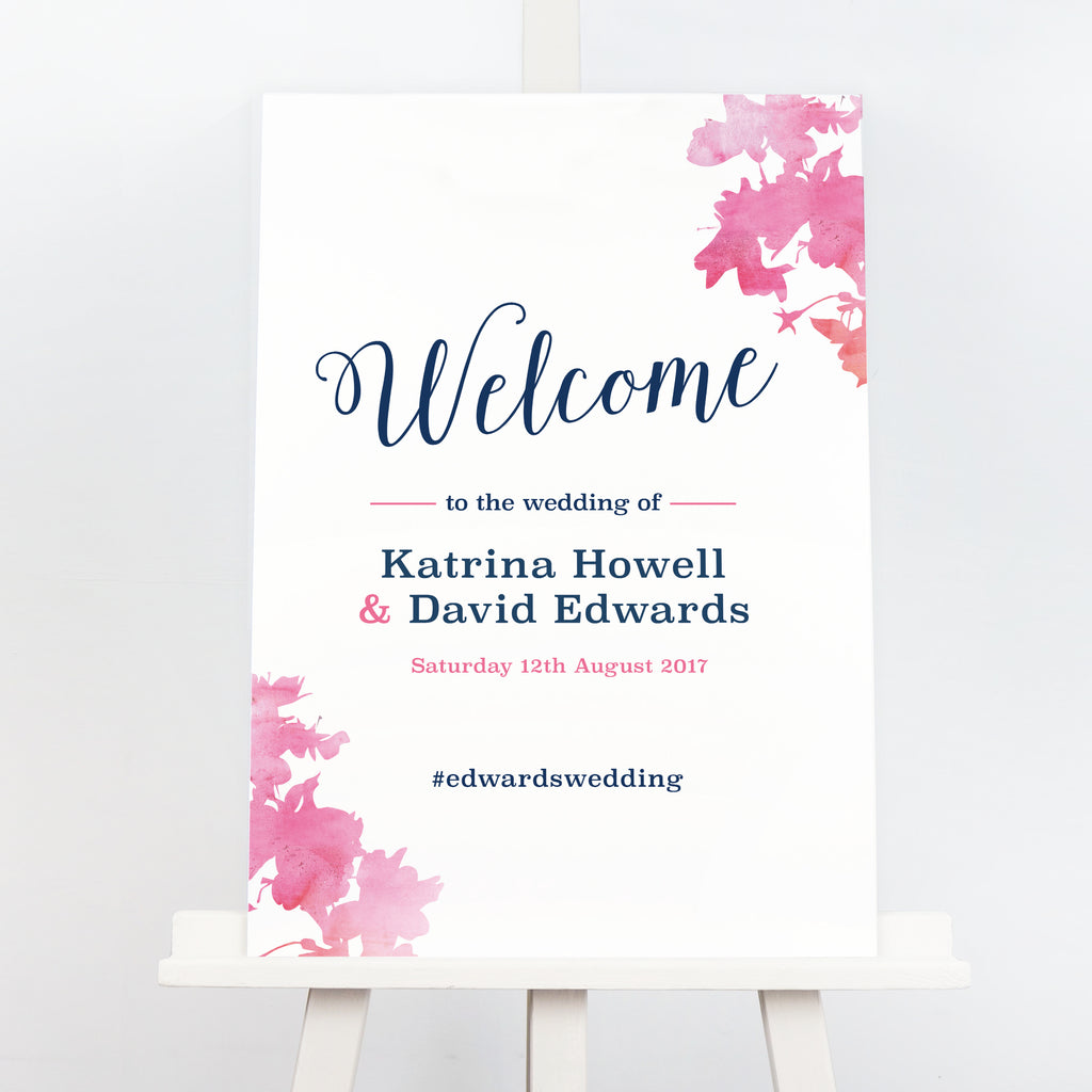Pink blossom wedding welcome sign