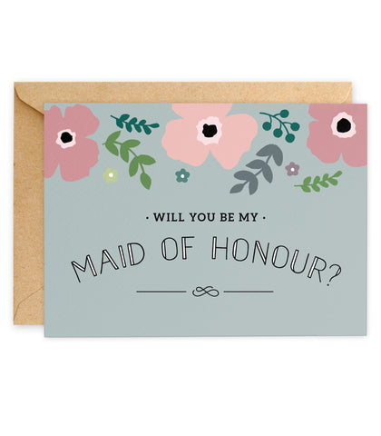 Pink Poppy 'Will You Be My Maid of Honour? Card