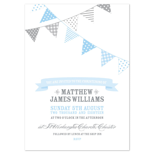 Bunting Christening Invitation