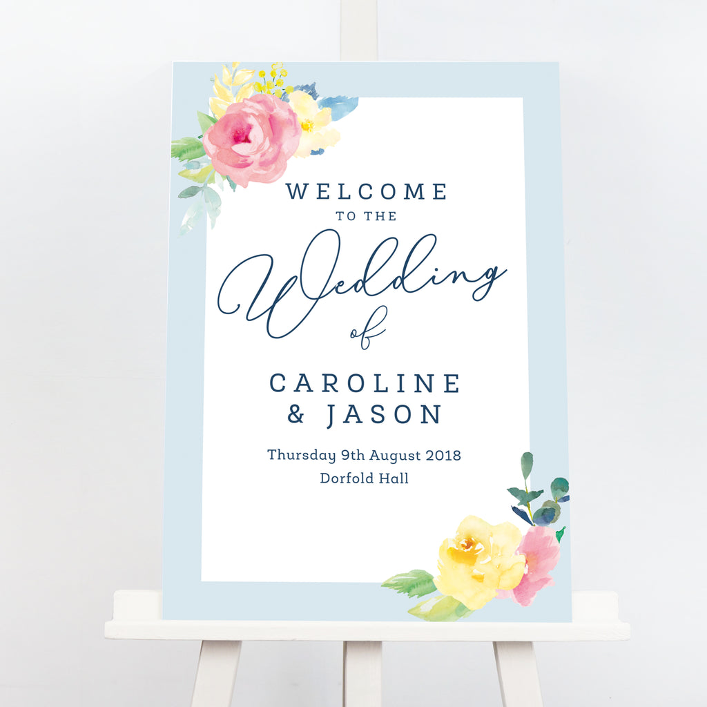 Blue Caroline floral wedding welcome sign