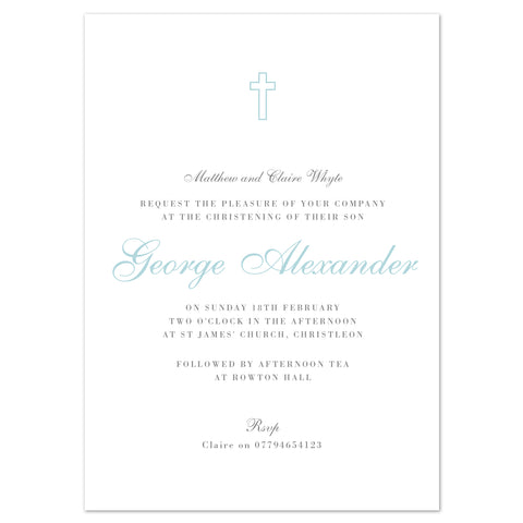 Traditional cross christening invitation