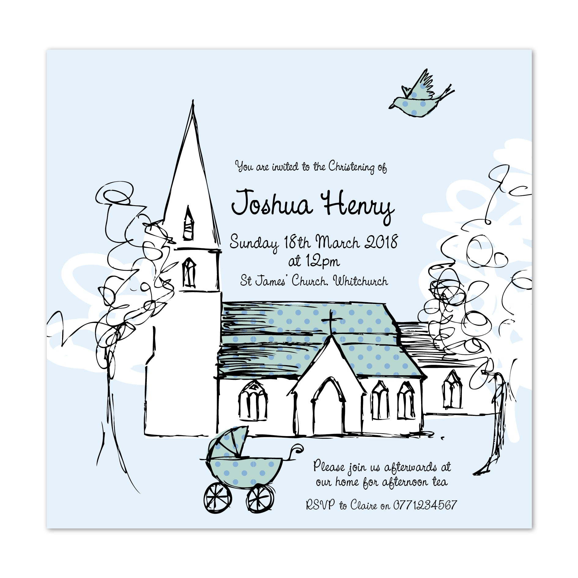 Beau Christening Invitation