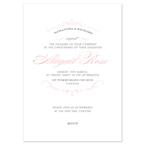 Olivia christening invitation