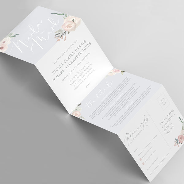 Ella concertina wedding invitation