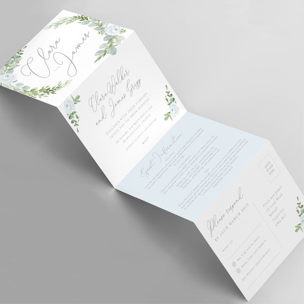 Eucalyptus concertina wedding invitation