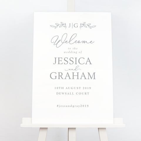 Darcey grey monogram wedding welcome sign