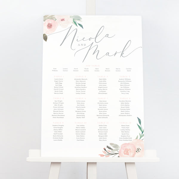 Ella grey and blush pink floral wedding table plan seating chart