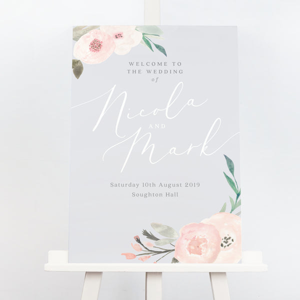 Ella grey blush pink wedding welcome sign