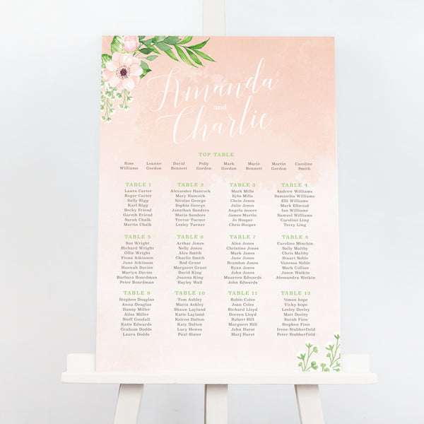 Eloise blush floral wedding table plan