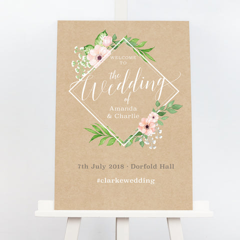 Eloise geometric botanical wedding welcome sign