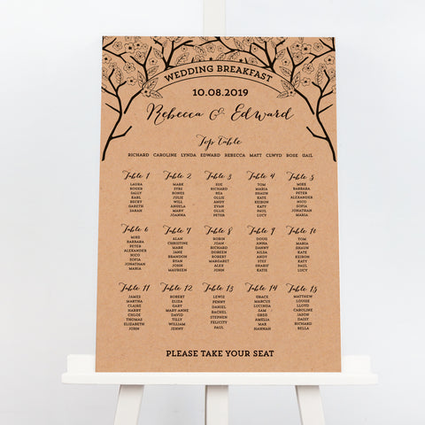 Enchanted Forest kraft wedding table plan