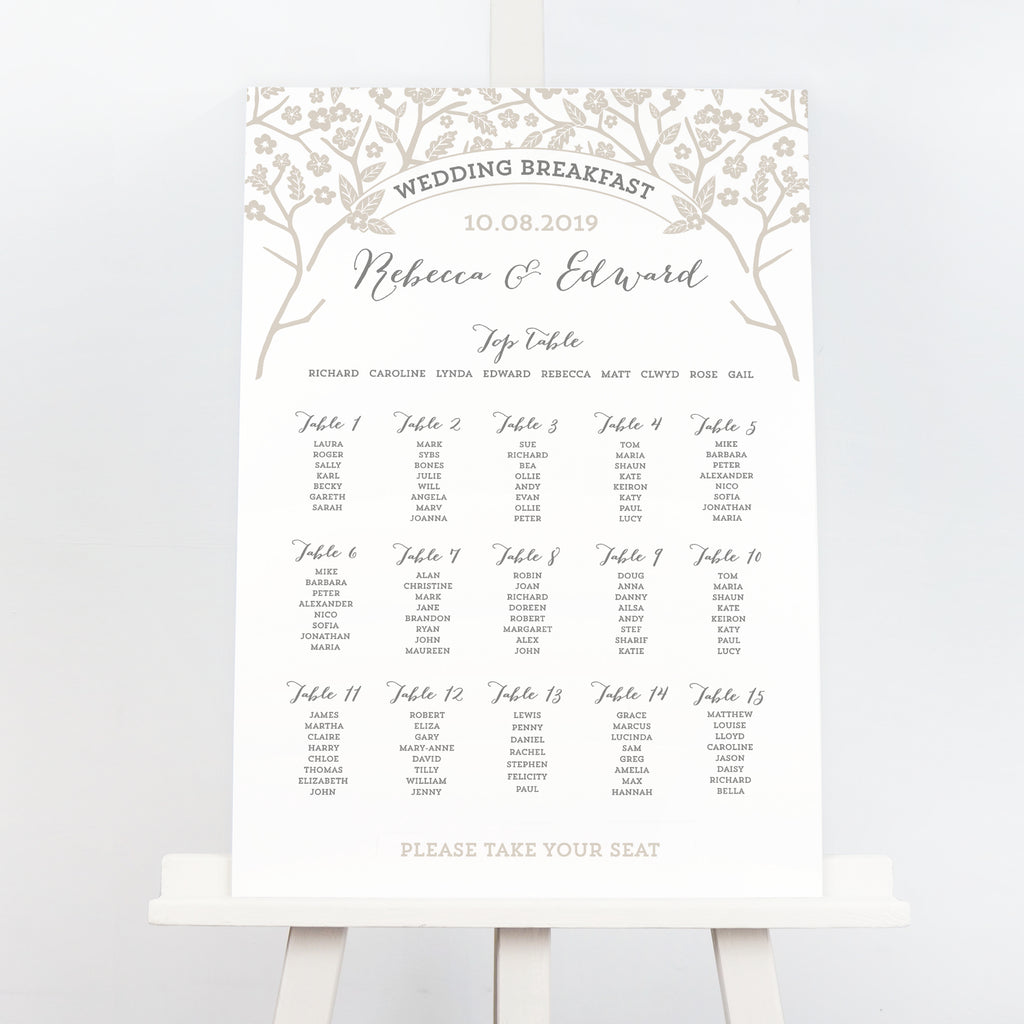 Enchanted Forest taupe wedding table plan