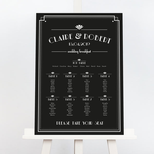 Estelle great gatsby style wedding table plan