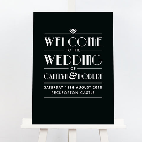 Estelle Art deco black wedding table plan