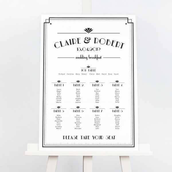 Estelle art deco wedding table plan