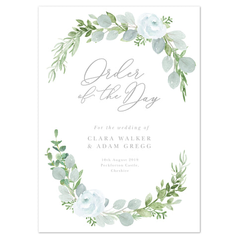 Eucalyptus Wedding Order Of The Day Program Cards