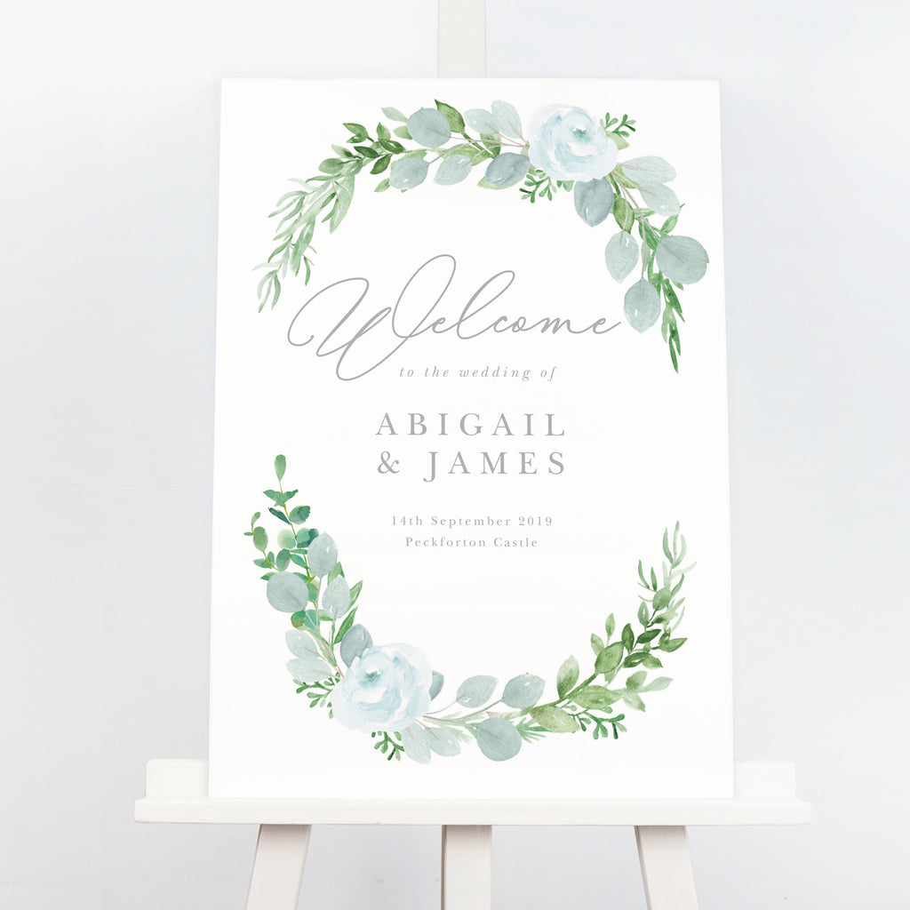 Eucalyptus wedding welcome sign