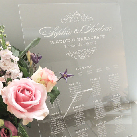 Eva perspex A2 wedding table plan