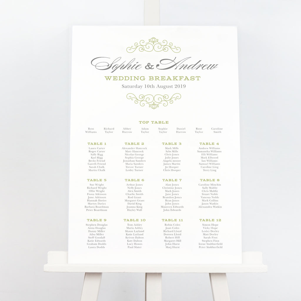 Eva traditional wedding table plan