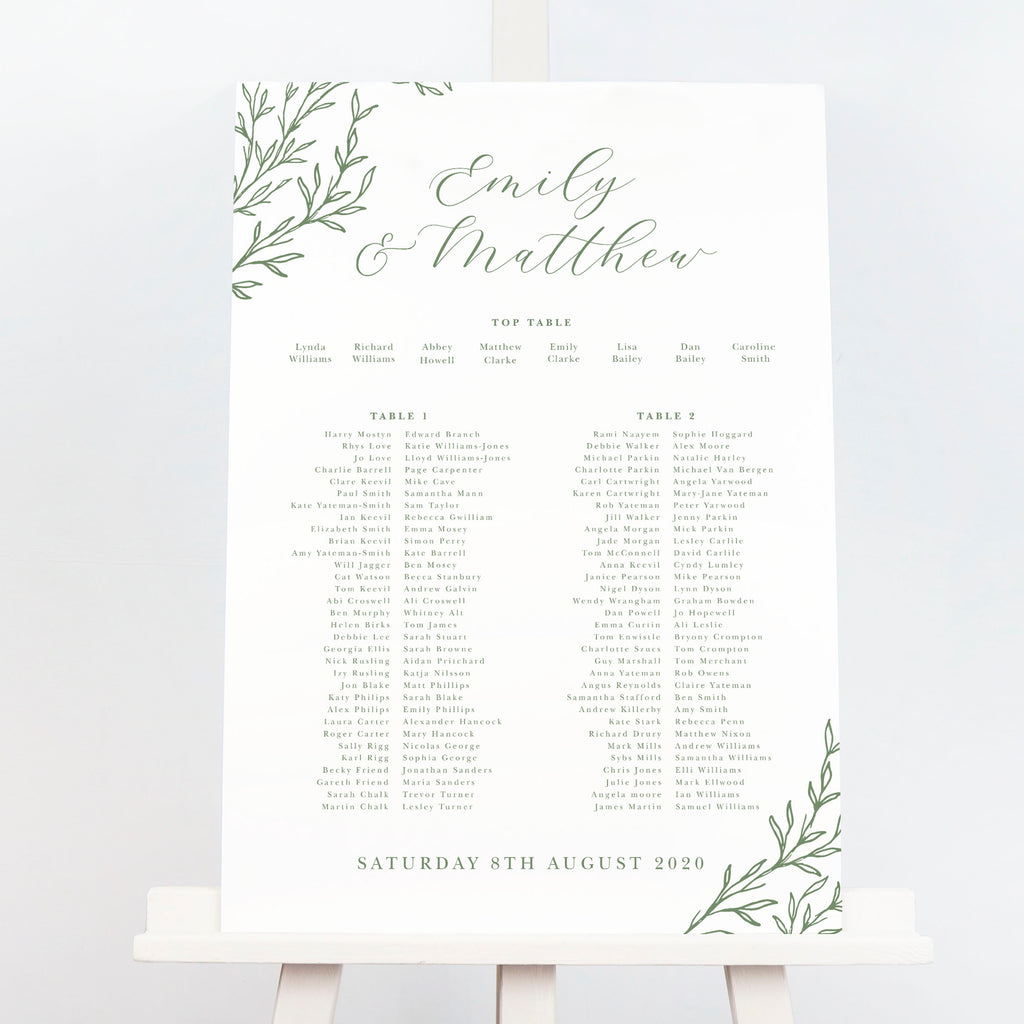 Florence Delicate Foliage Table Plan