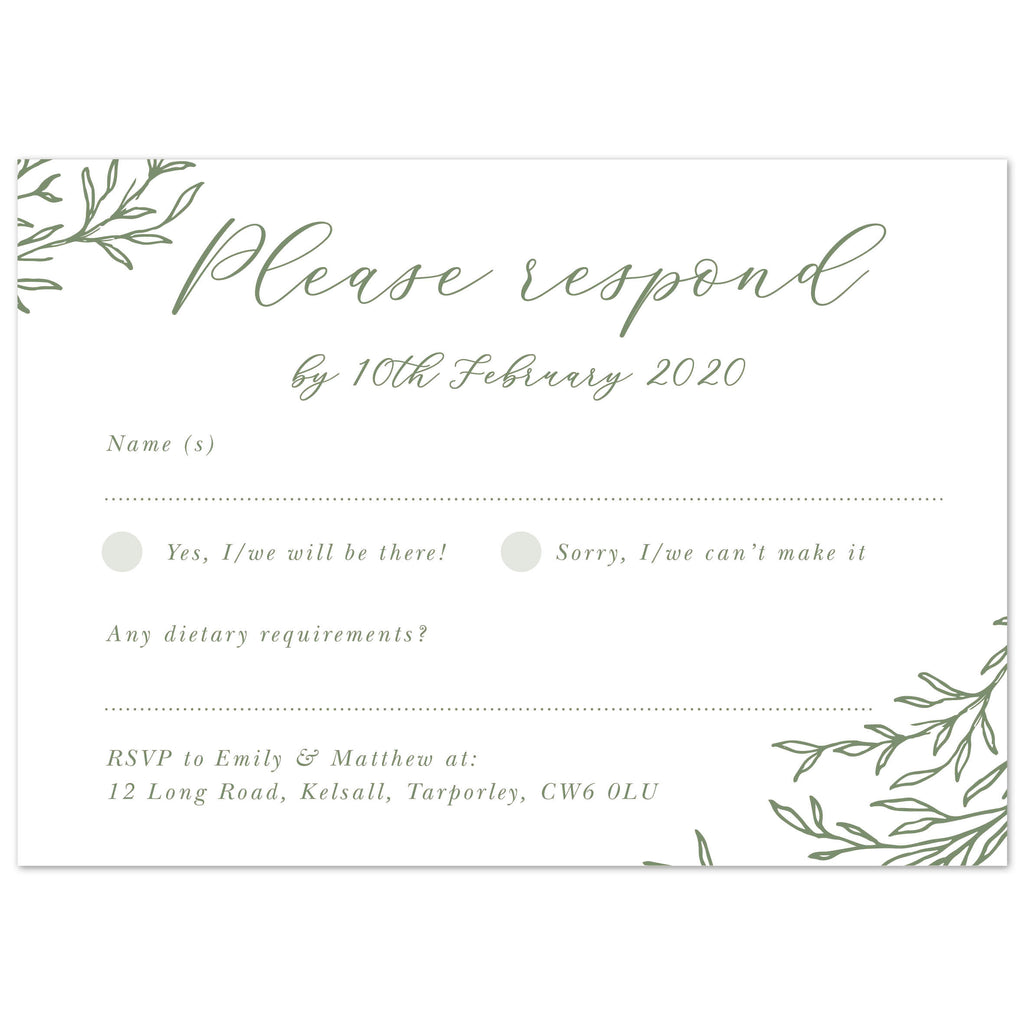 Florence Delicate Foliage RSVP card