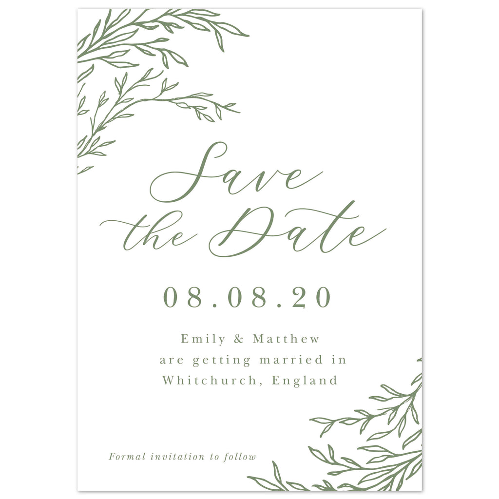 Florence Delicate Foliage save the date cards