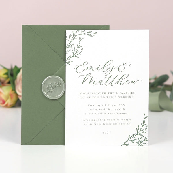 Florence Delicate Foliage Wedding Invitation