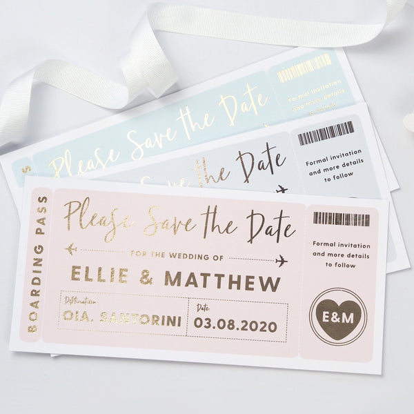 Boarding pass foil save the date card