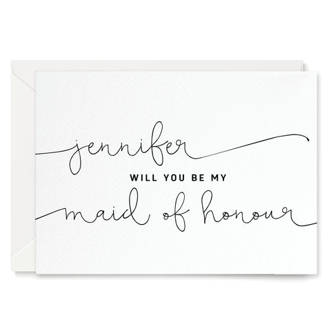 Kate Personalised 'Will You Be My Maid of Honour?' Card