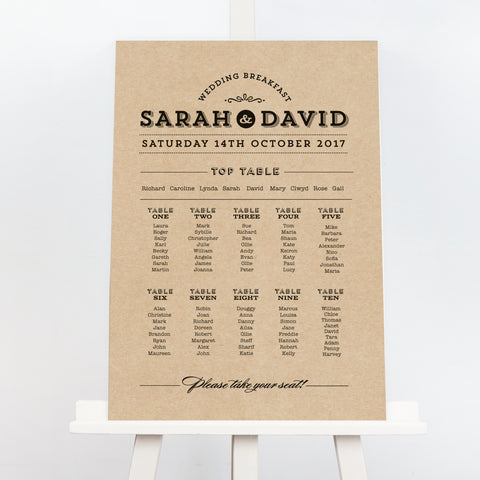 Frankie vintage kraft wedding table plan