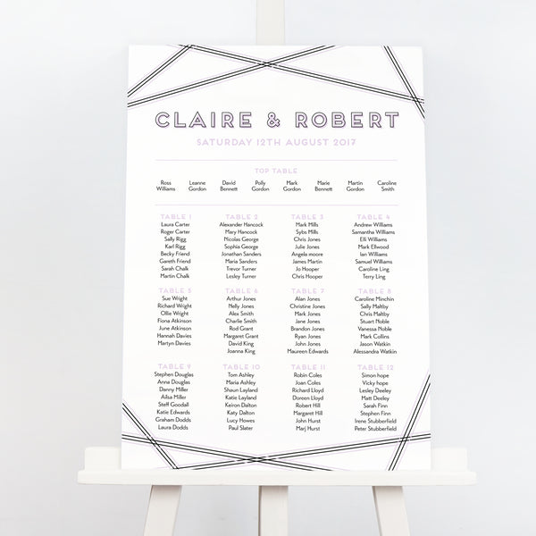 Geometric wedding table plan