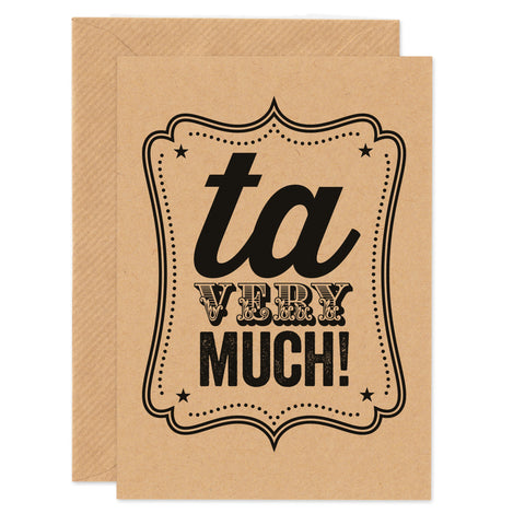 'Ta Very Much!' Thank you card