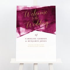 Grace berry and gold wedding welcome sign