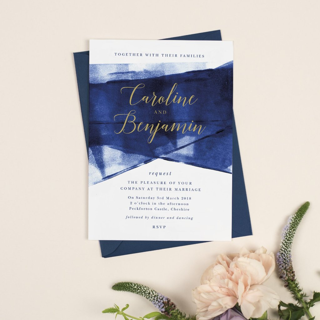 Grace Wedding Invitation *new* navy and gold
