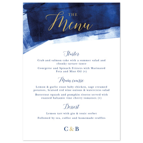 Grace Menu Cards *new* navy and gold
