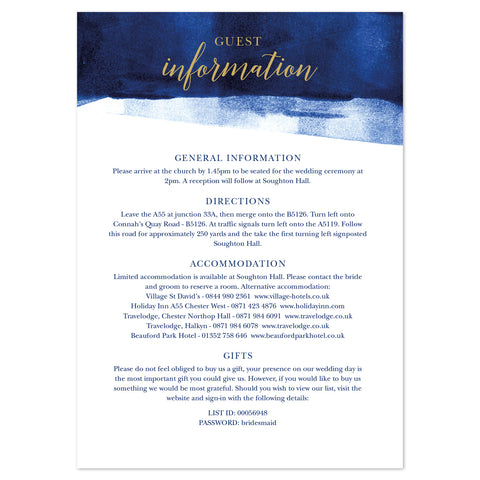Grace information card *new* navy and gold