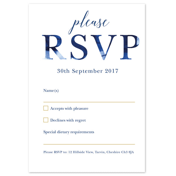Grace RSVP card *new* navy and gold
