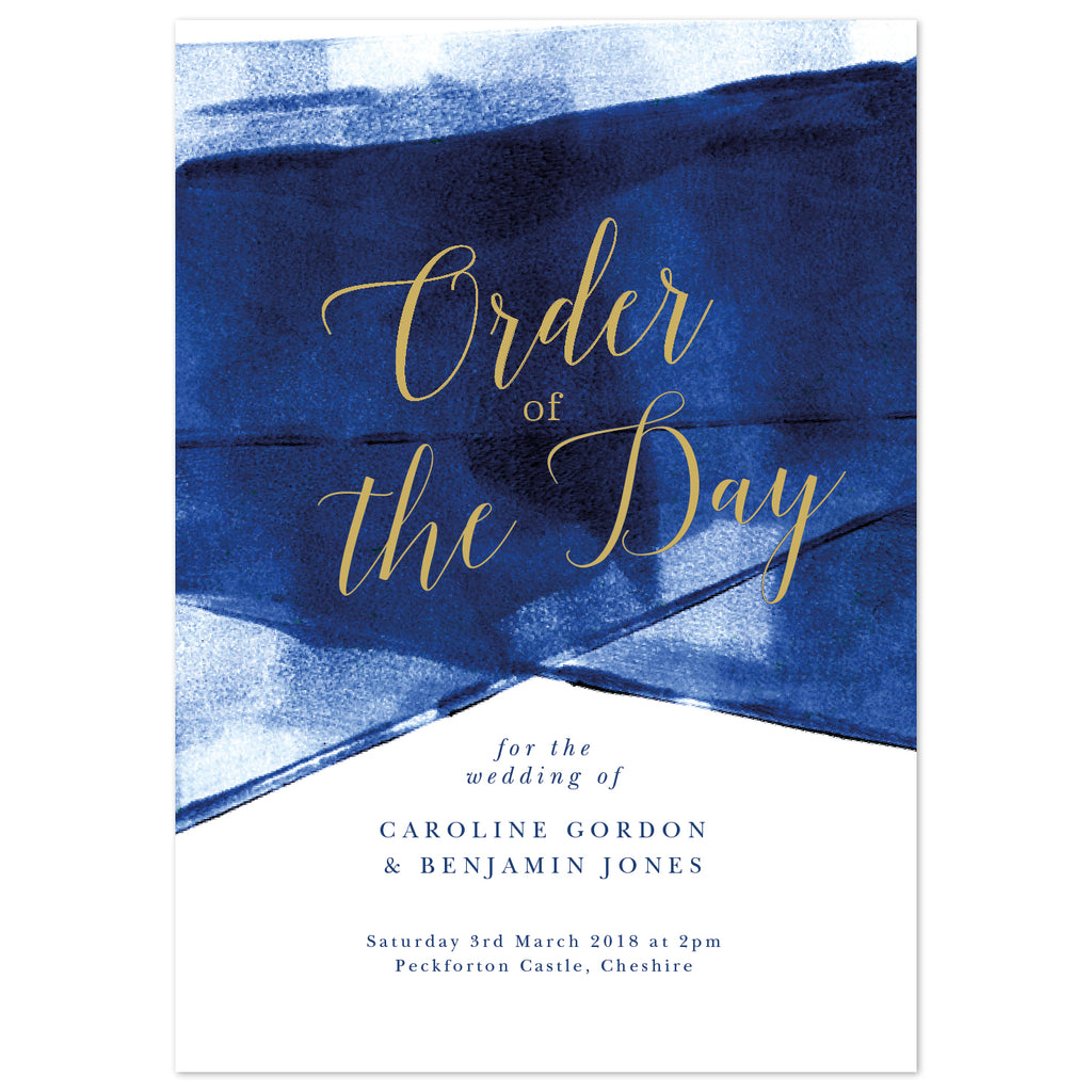 Grace Wedding Order Of The Day Program Cards *new* navy and gold