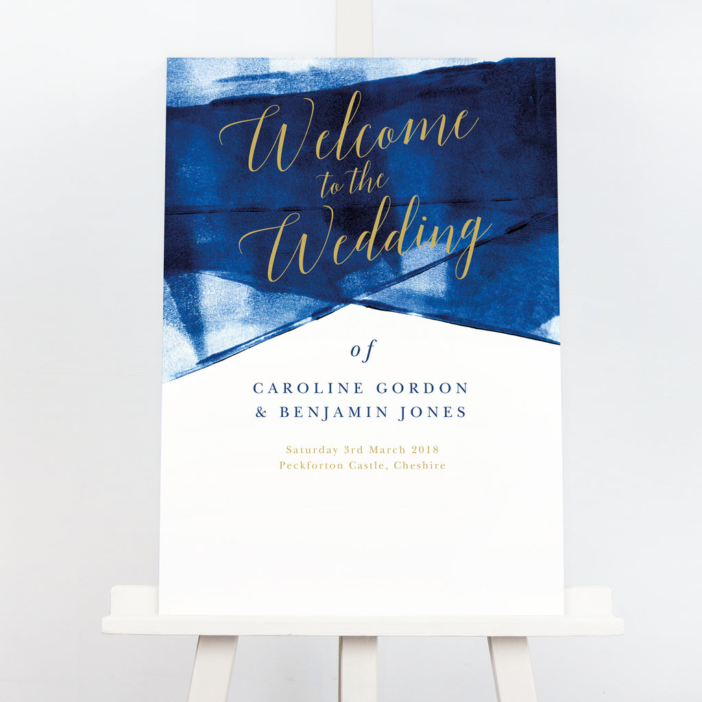 Navy blue and gold wedding welcome board